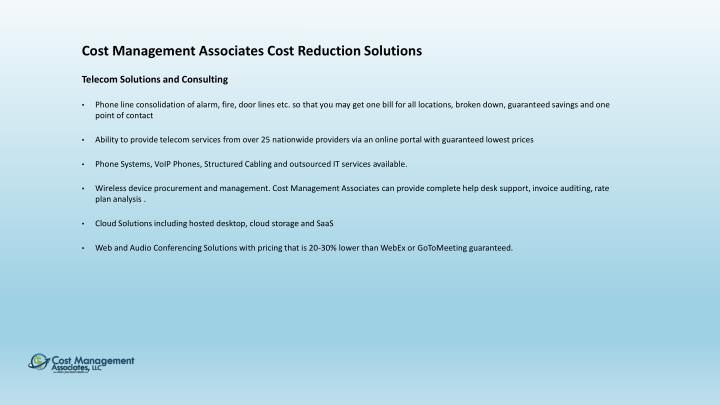 Cost Management Associates Cost Reduction Solutions