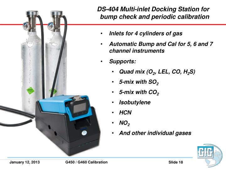 DS-404 Multi-inlet Docking Station for bump check and periodic calibration