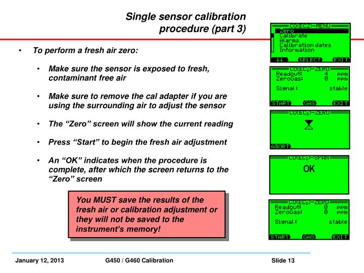 Single sensor calibration procedure (part 3)