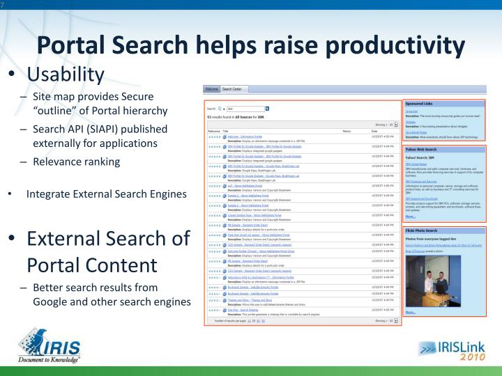 Portal Search helps raise productivity