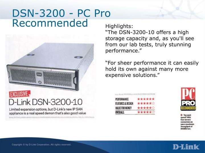DSN-3200 - PC Pro Recommended