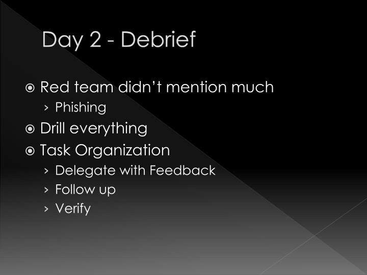 Day 2 - Debrief