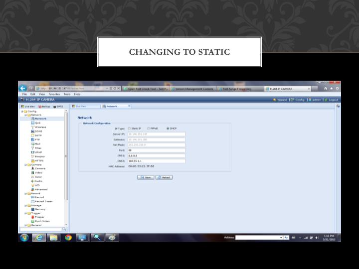 Changing to STATIC