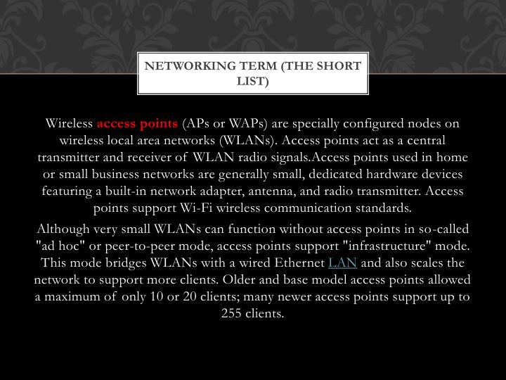 Networking Term (the short List)