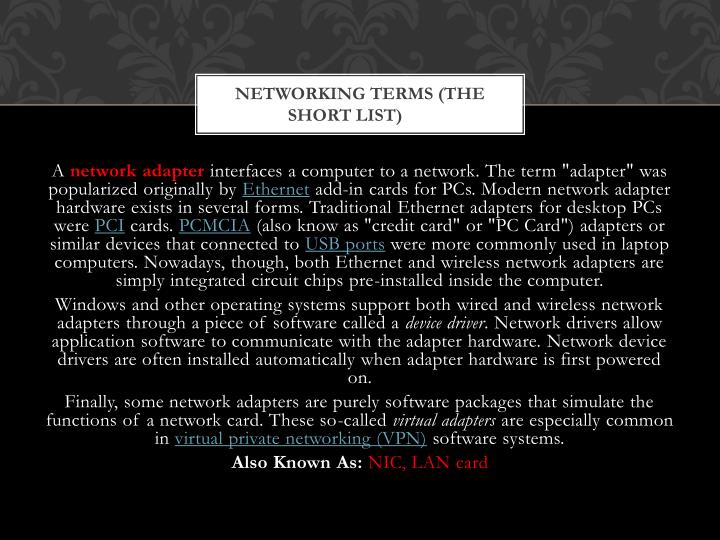 Networking terms the short list