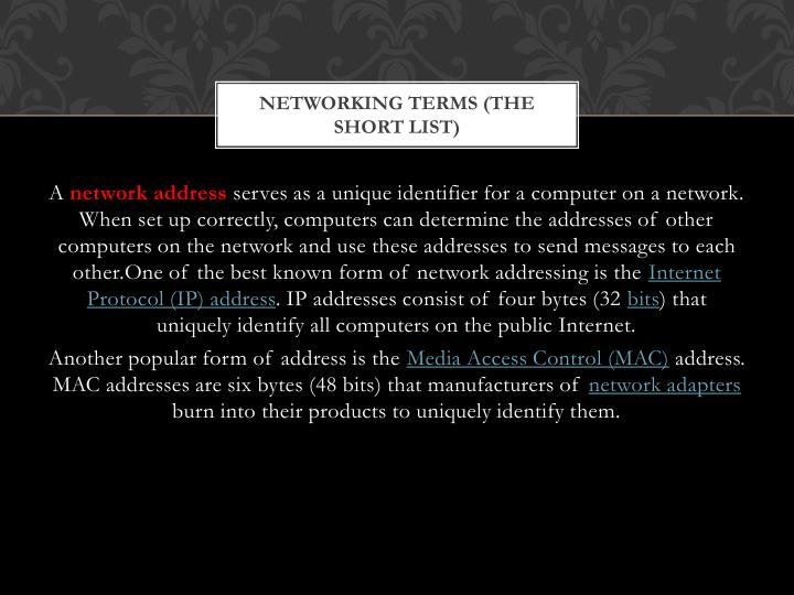 Networking terms the short list1