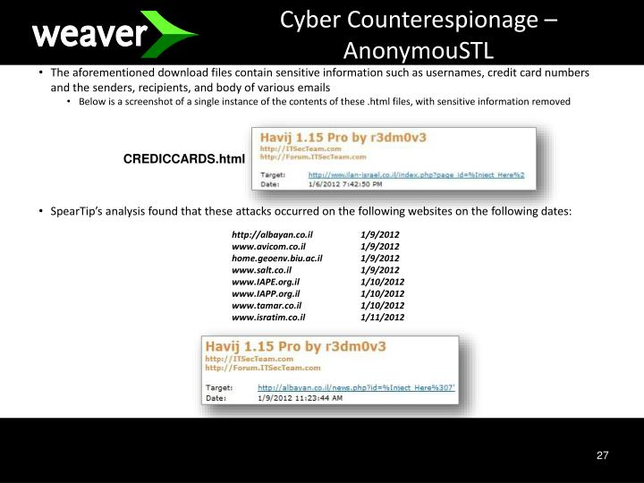 Cyber Counterespionage – AnonymouSTL