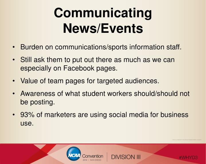 Communicating News/Events