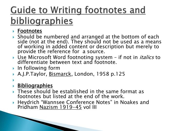 Guide to Writing footnotes and