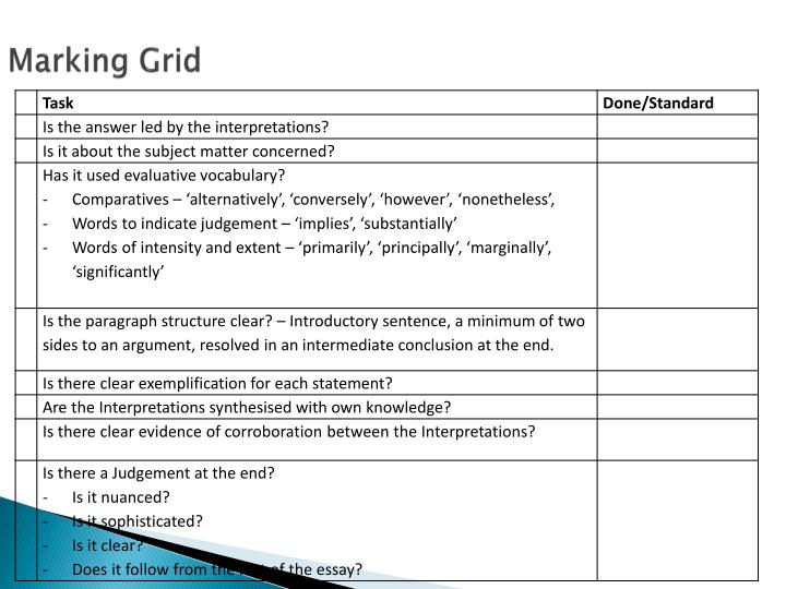 Marking Grid