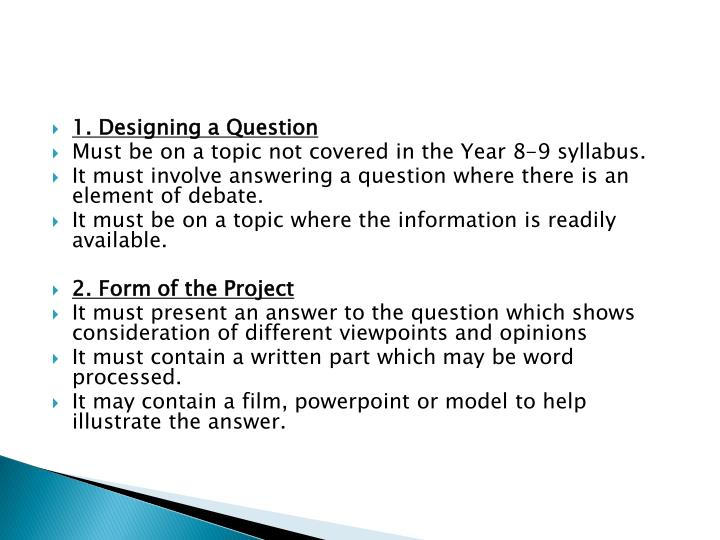 1. Designing a Question