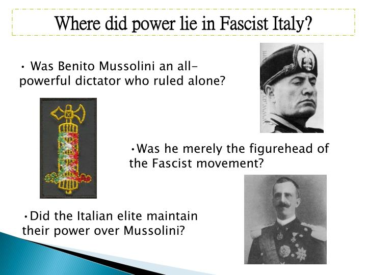 Where did power lie in Fascist Italy?