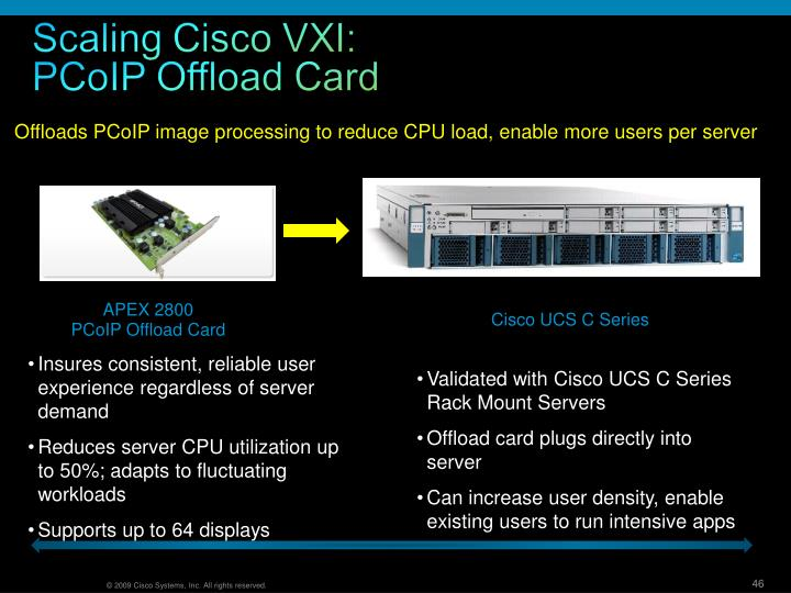 Offloads PCoIP image processing to reduce CPU load, enable more users per server