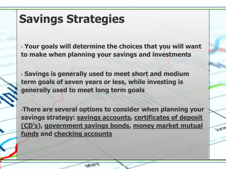 Savings strategies