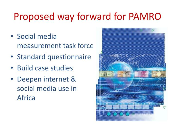 Proposed way forward for PAMRO