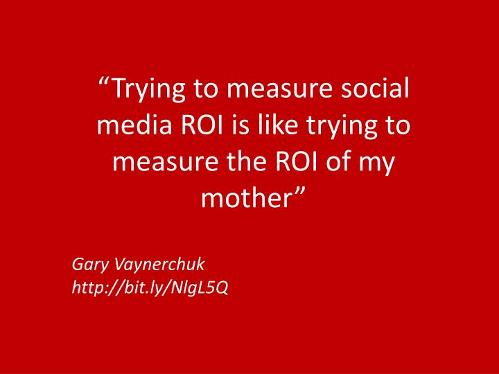 """Trying to measure social media ROI is like trying to measure the ROI of my mother"""