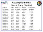 accomplishments since race neutral