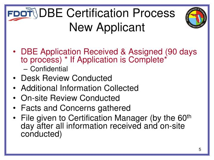 DBE Certification Process