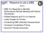 reasons to use a dbe cont