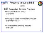 reasons to use a dbe cont1