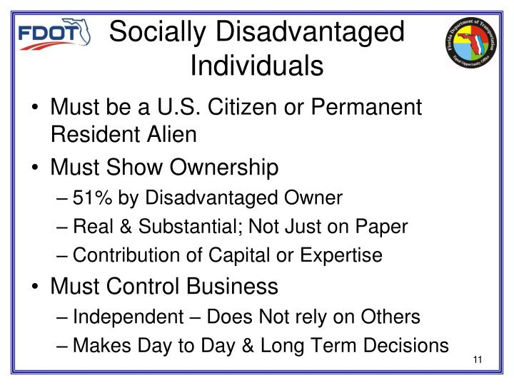 Socially Disadvantaged