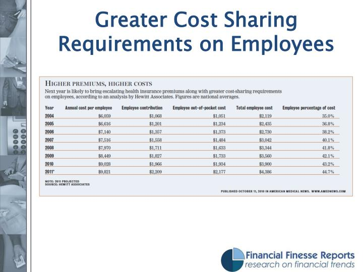 Greater Cost Sharing Requirements on Employees