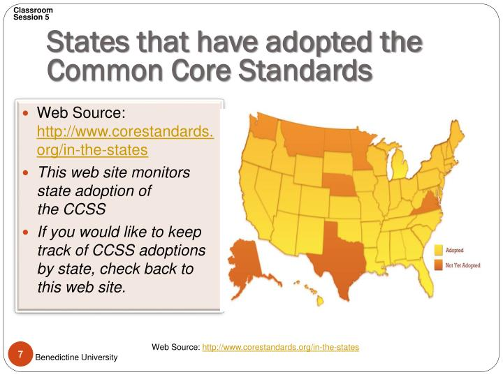 States that have adopted the Common Core Standards