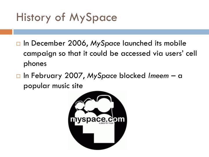 History of MySpace