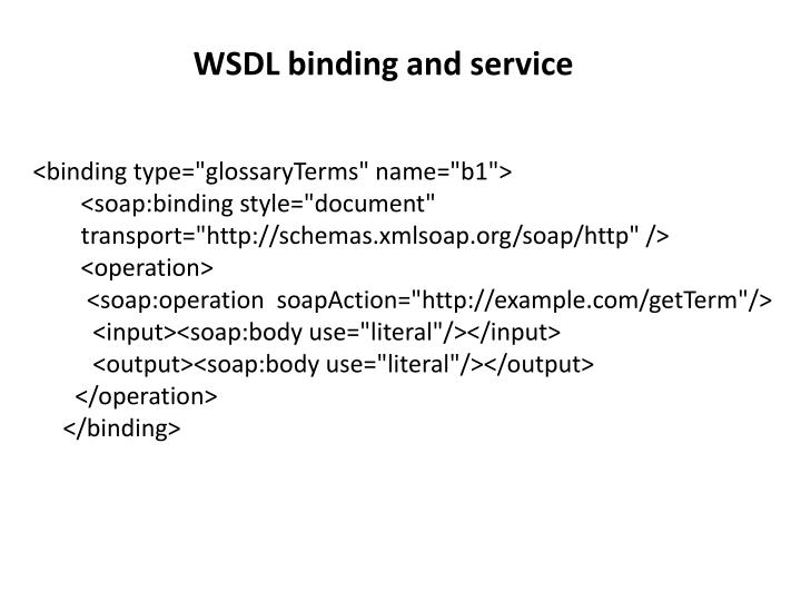 WSDL binding and service