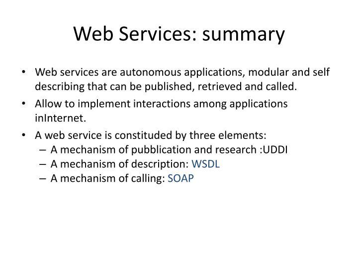 Web Services: summary