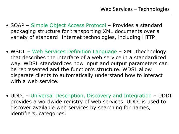 Web Services – Technologies