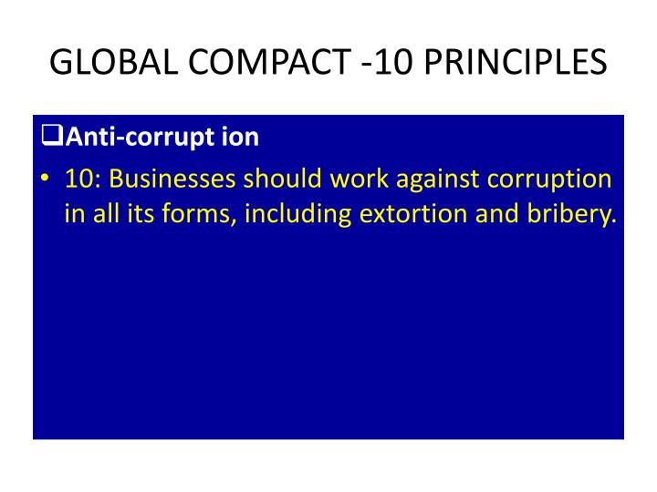 GLOBAL COMPACT -10 PRINCIPLES