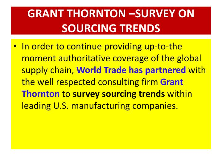 GRANT THORNTON –SURVEY ON SOURCING TRENDS