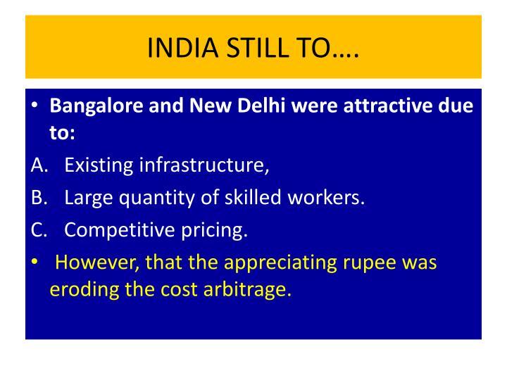 INDIA STILL TO….