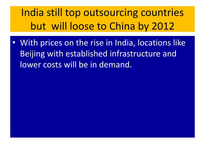 India still top outsourcing countries but  will loose to China by 2012