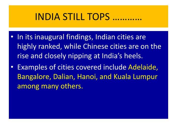 INDIA STILL TOPS …………