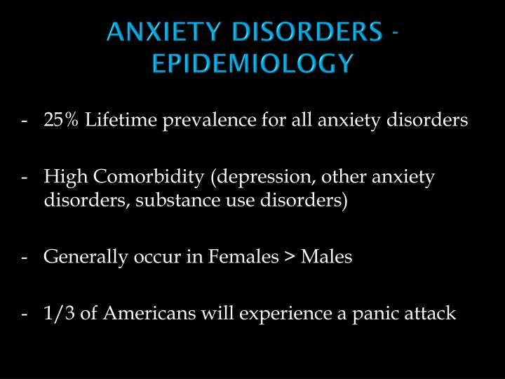ANXIETY DISORDERS - EPIDEMIOLOGY