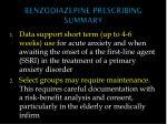 benzodiazepine prescribing summary