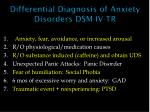 differential diagnosis of anxiety disorders dsm iv tr
