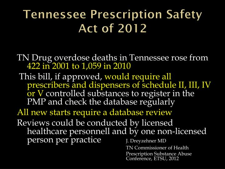 Tennessee Prescription Safety Act of 2012