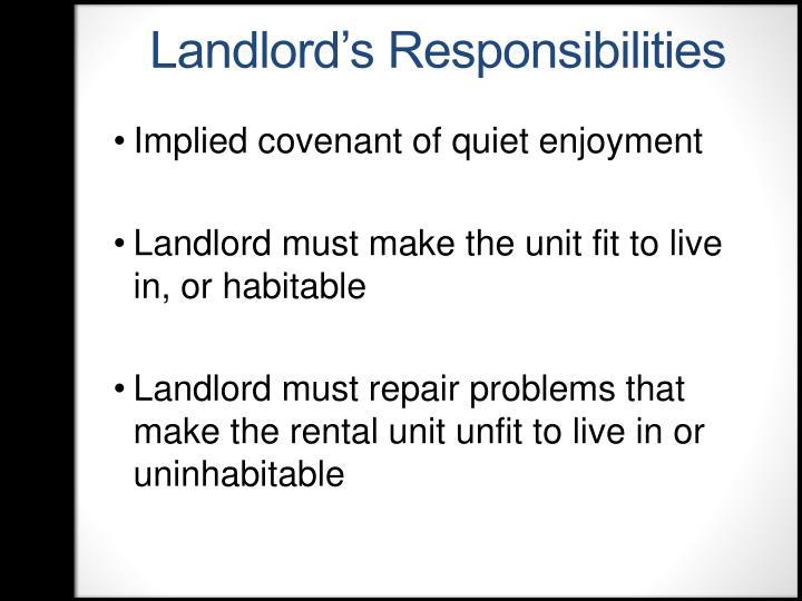 Landlord's Responsibilities