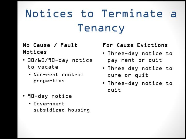 Notices to Terminate a Tenancy
