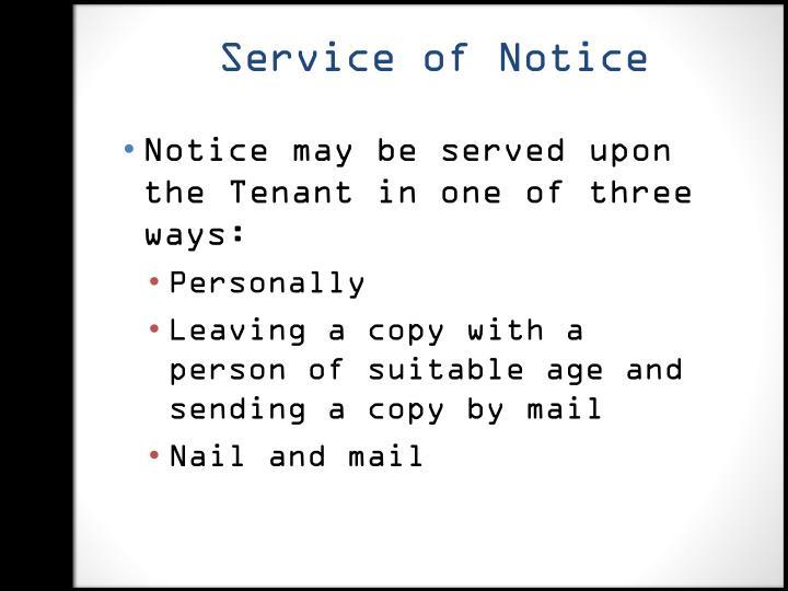 Service of Notice