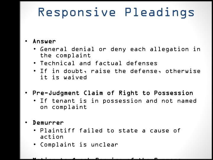 Responsive Pleadings