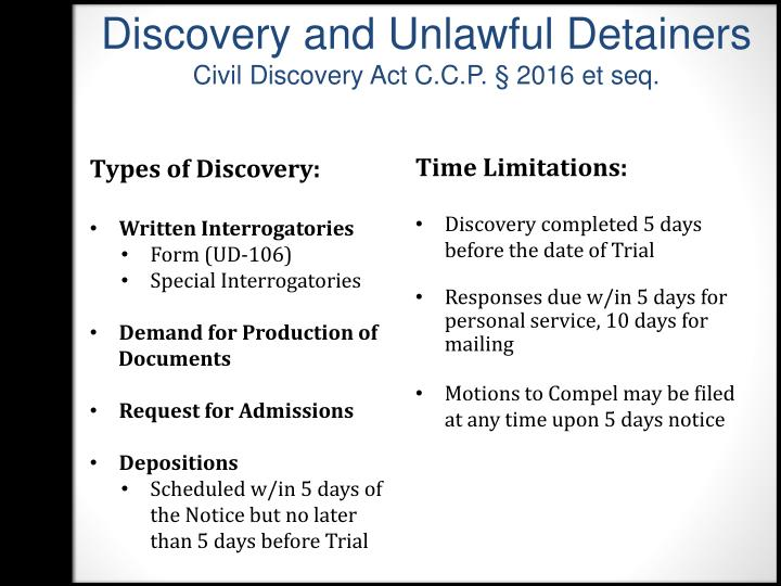 Discovery and Unlawful Detainers