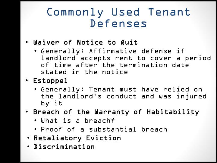 Commonly Used Tenant Defenses