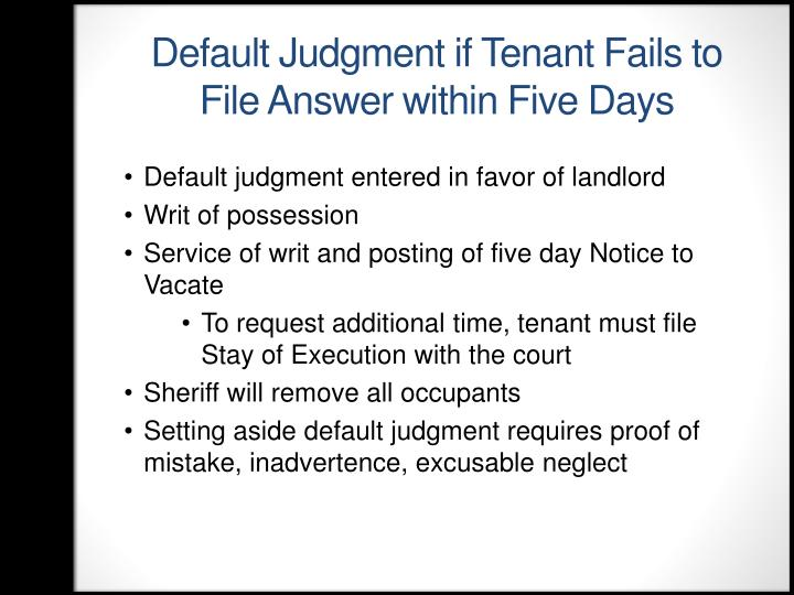 Default Judgment if Tenant Fails to File Answer within Five Days