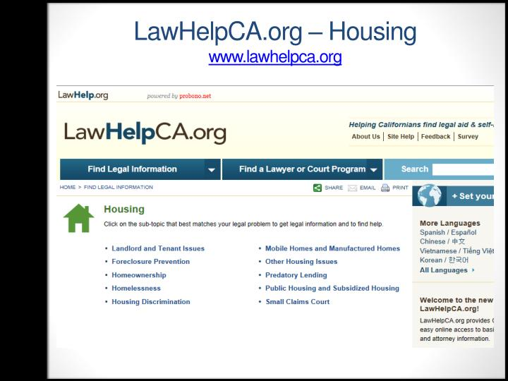 LawHelpCA.org – Housing
