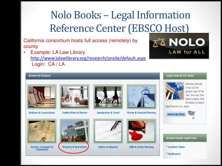 Nolo Books – Legal Information Reference Center (EBSCO Host)