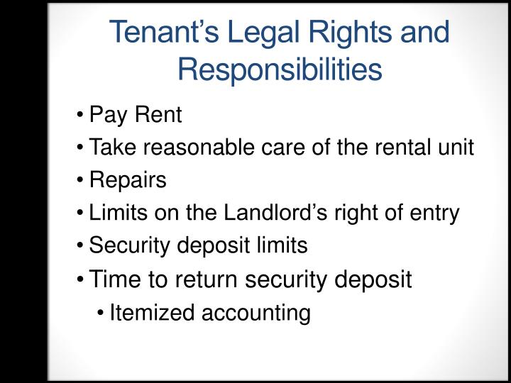 Tenant's Legal Rights and Responsibilities